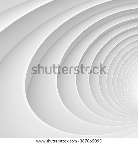 3d Abstract Tunnel Background. White Circular Building - stock photo