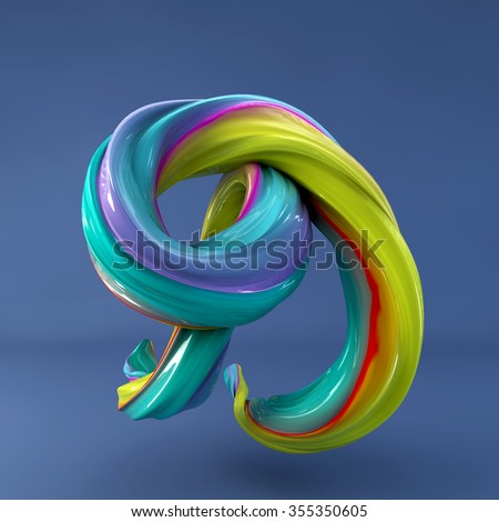 3d abstract wavy dabs of  paint alphabet on blue background. Uppercase letter D - stock photo