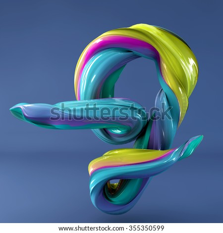 3d abstract wavy dabs of  paint alphabet on blue background. Uppercase letter J - stock photo