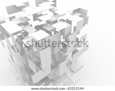 3d abstract white cube - stock photo