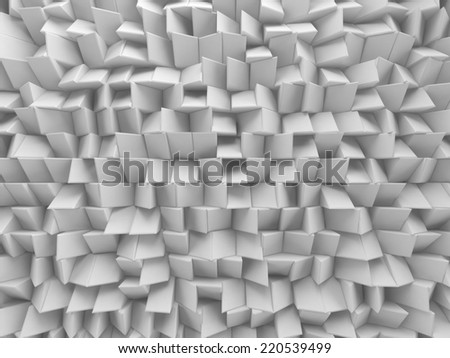 3d abstract white faceted background, geometric texture - stock photo