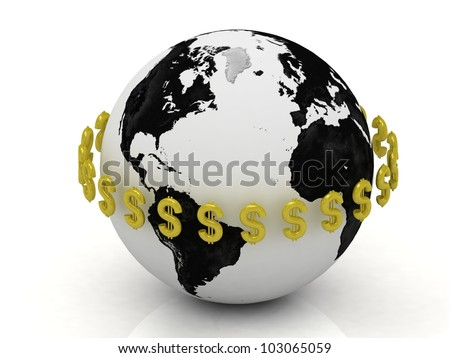3D abstraction. Dollar signs in gold encircle the planet - stock photo
