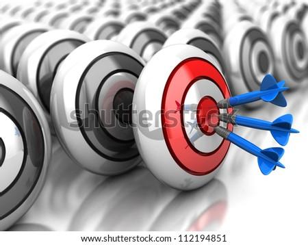 3d achievement: darts in bullseye with grey dartboards - stock photo