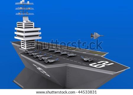 3d aircraft carrier - stock photo