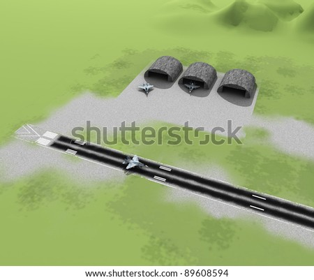 3d airfield with airplanes - stock photo