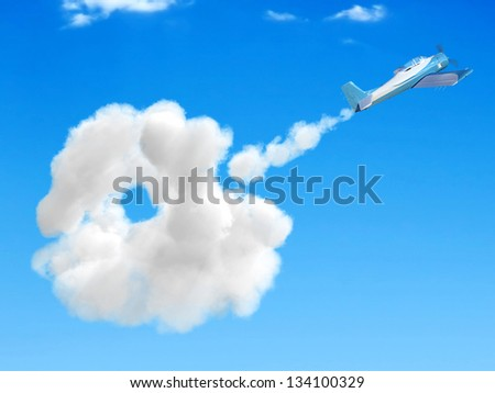 3D airplane flying in the sky and going through a cloud - stock photo