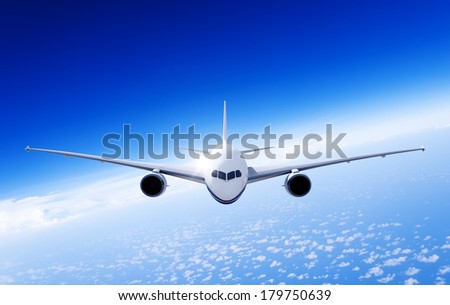 3D Airplane in Mid Air