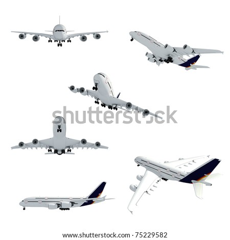 3d airplane on white background - stock photo