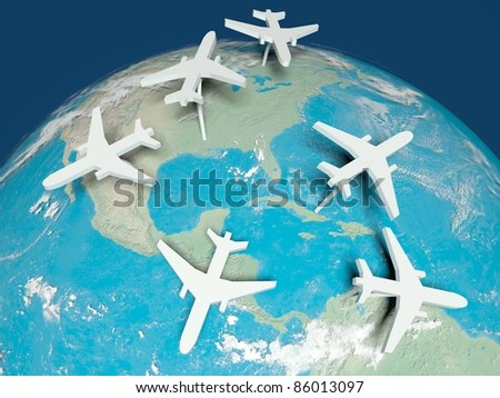 3d Airplane Routes on world map - stock photo