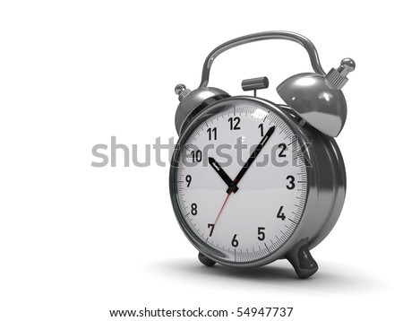 3D alarm clock high res. isolated - stock photo