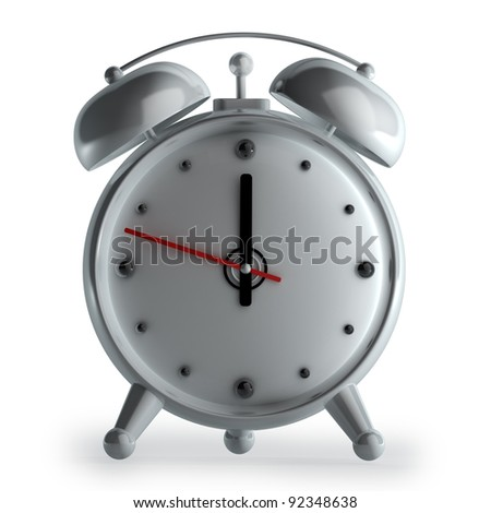 3d alarm clock isolated on white background High reolution - stock photo