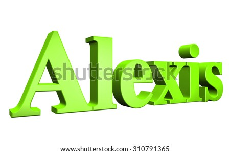 3D Alexis text on white background