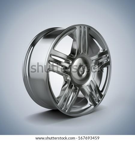 3d alloy wheel - stock photo