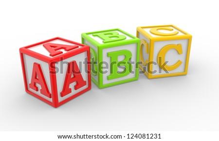 3D alphabet ABC cubes. 3d render - stock photo
