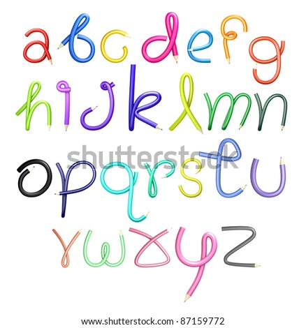 """3D alphabet creative pencil colorful text """"a-z"""" on a white background. Isolated - stock photo"""