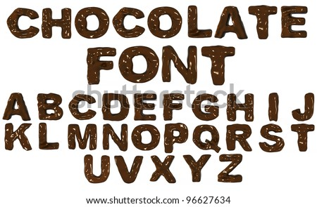 3D alphabet from chocolate isolated on white - stock photo