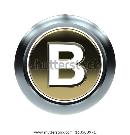 3D alphabet, letter B isolated on white background - stock photo
