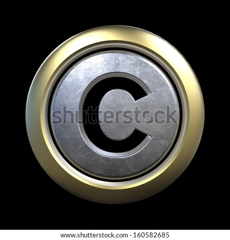 3D alphabet, letter C isolated on black background - stock photo