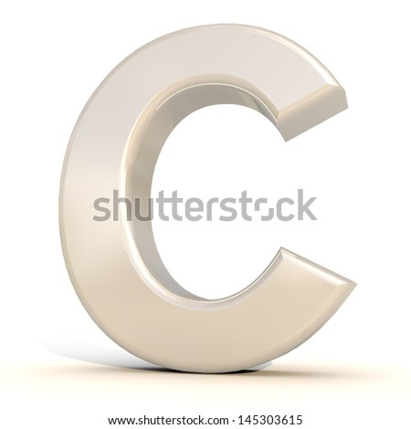 3D alphabet, letter C isolated on white background - stock photo