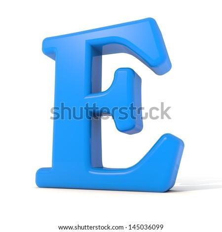 3D alphabet, letter E isolated on white background - stock photo