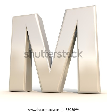 3D alphabet, letter M isolated on white background - stock photo