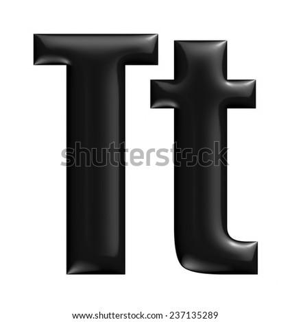 3D Alphabet letter T in black on white background. - stock photo