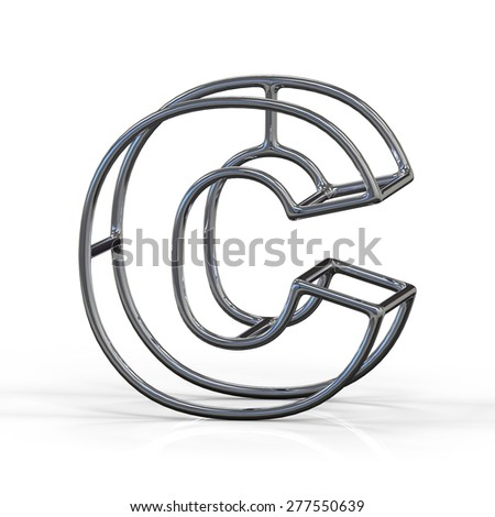 3D alphabet, metal letter C isolated on white background - stock photo