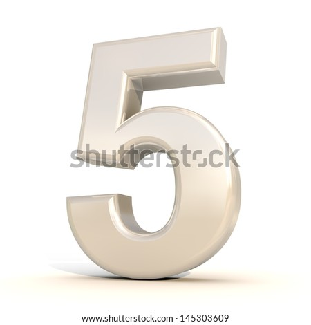 3D alphabet, number 5 isolated on white background - stock photo