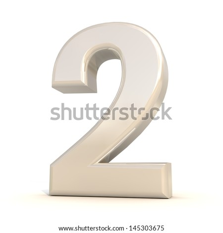3D alphabet, number 2 isolated on white background - stock photo