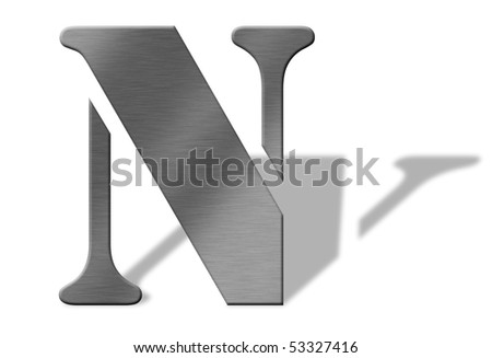3d aluminum letters of the alphabeth isolated with shadow on white numbers also available