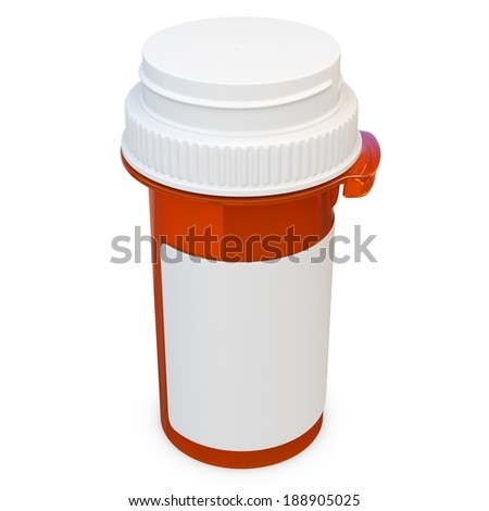 3d amber plastic medical container for pills or capsules. Blank for label on white background - stock photo