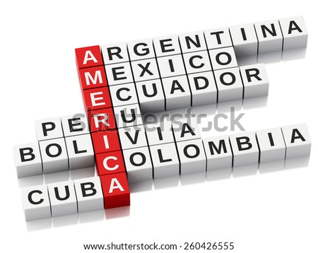 3d America concept. Crossword with letters. Isolated white background