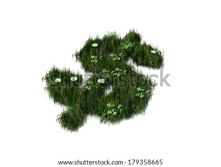 3d American currency sign / iso code made of grass isolated on white background