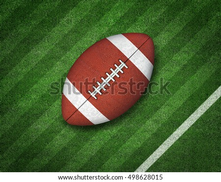 3d American Football on American Football Field