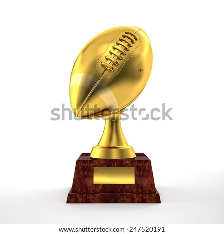 3d american football trophy - stock photo
