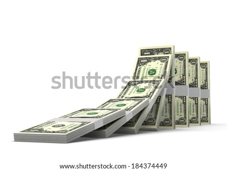3D American money dominoes stacked falling and collapsing  isolated on white background