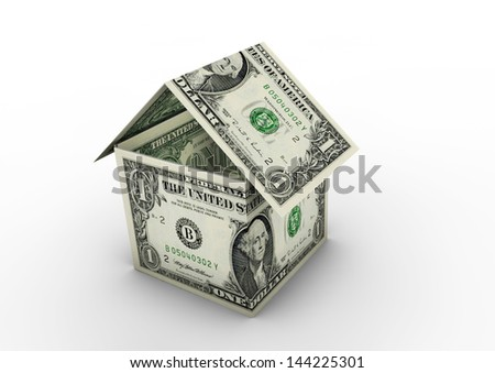 3D American money shaped as house origami isolated on white background