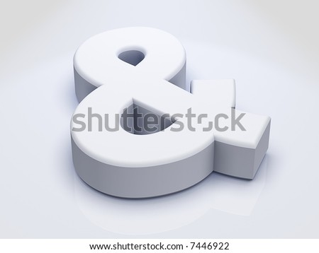 3D Ampersand Sign sitting on slightly Reflective White Surface - stock photo