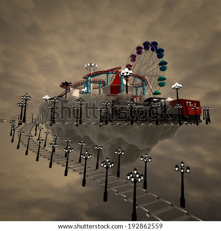 3d amusement park on the clouds in the background. - stock photo