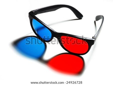 3D (anaglyph) glasses. - stock photo