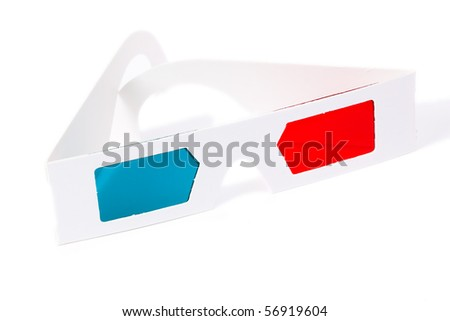 3d anaglyph glasses for three dimensional movies - stock photo
