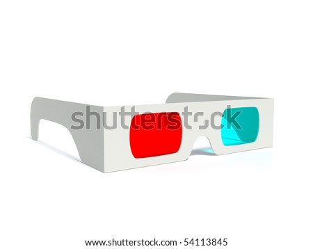 3d anaglyph glasses over white - stock photo