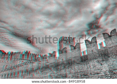 3D anaglyph image of Castelvecchio in Verona, Italy. View with red/cyan glasses. - stock photo