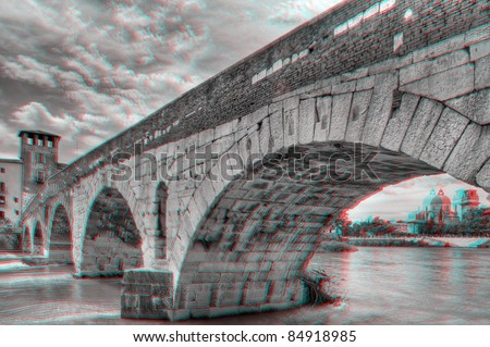 3D anaglyph image of 'Ponte Pietra', in Verona, Italy. View with red/cyan glasses. - stock photo