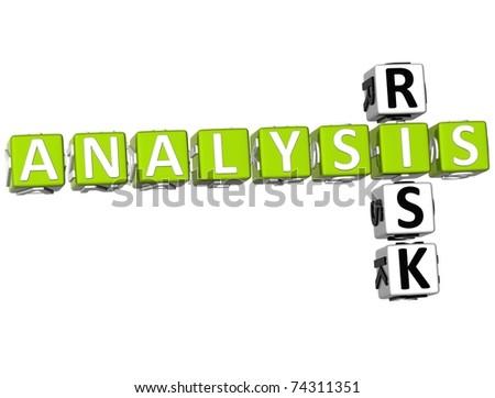 3D Analysis Risk Crossword on white background - stock photo