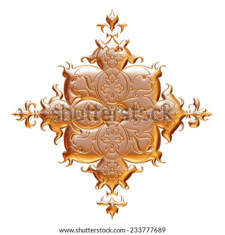 3d ancient gold ornament on a white background