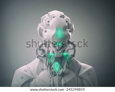 3D android futuristic robot bust - stock photo