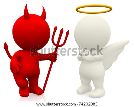 3D angel and devil - isolated over a white background - stock photo