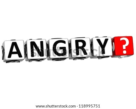 3D Angry Button Click Here Block Text over white background - stock photo