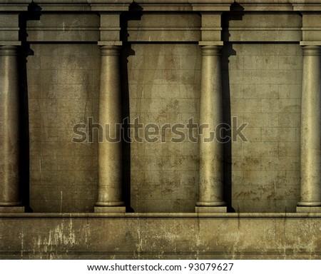 3d antique classic architecture Greek Roman wall render - stock photo